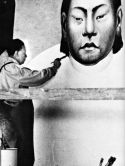 "Diego Rivera paints the south wall at the Detroit Institute of Arts in 1932. This photo is from ""Diego Rivera — The Detroit Industry Murals"" by Linda Bank Downs."